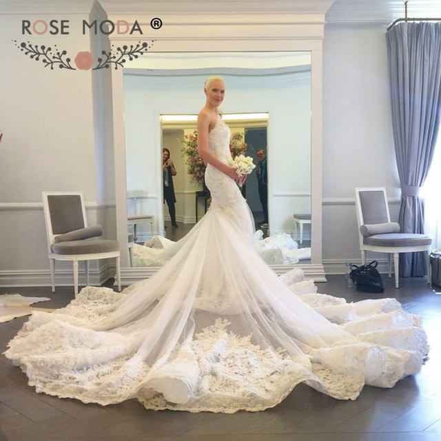 Luxury One Shoulder Lace Mermaid Wedding Dress with Cathedral Train ...