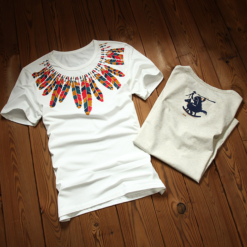 Buy native american feather print mens for T shirt distributor manufacturers