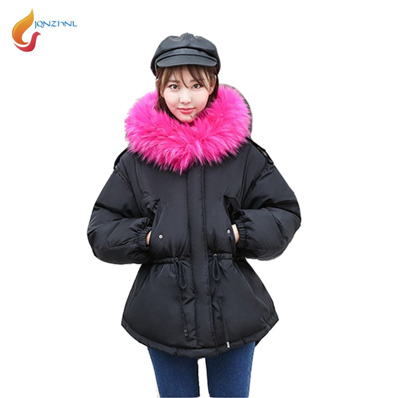 JQNZHNL Women Cotton Coats And Jackets 2017 New Winter Warm Coats Outerwear Big Fur Hooded Casual Thicken Down Cotton Coats L593