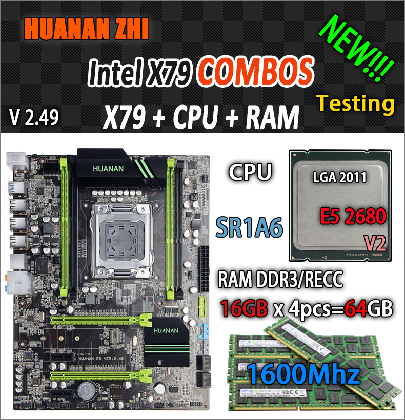 HUANAN ZHI V2.49 X79 placa base LGA2011 ATX combos E5 2680 v2 SR1A6, 4x16, 4x18G 64 GB 1600 Mhz USB3.0 SATA3 PCI-E NVME M.2 SSD