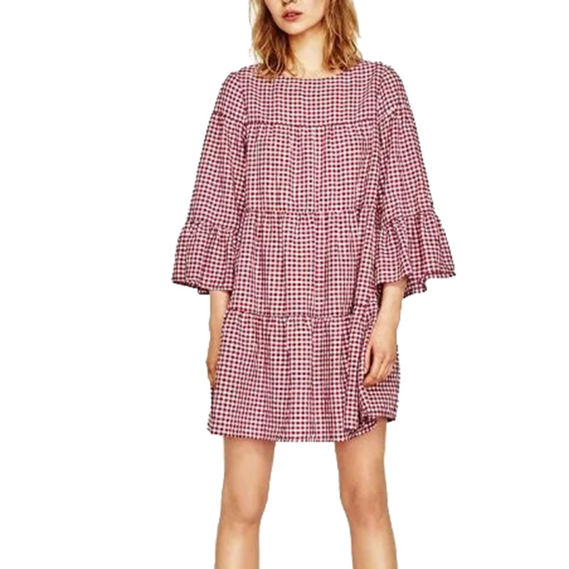 2017 Womens Sweet Plaid Pleated Oversized Dress Flare Three Quarter Sleeve O Neck Mini Dress Female