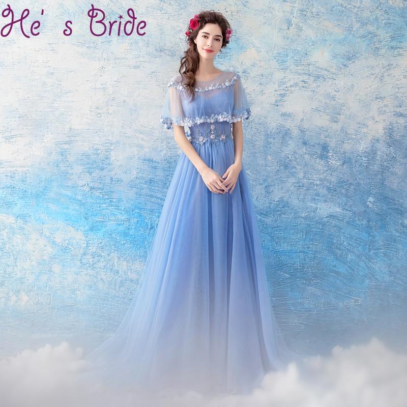 Simple Elegant Tulle A Line Scoop Neck Cap Sleeves Lace: Aliexpress.com : Buy Evening Dress Elegant Light Blue