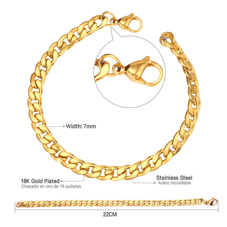 LUXUSTEEL męskie bransoletki ze stali nierdzewnej szerokość 7mm długość 22mm złoto/srebro Chunky Curb kubański Link Chain bransoletki odzież na co dzień