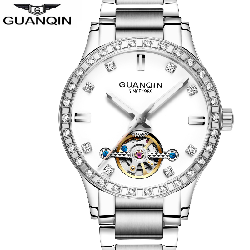 купить GUANQIN Luxury Luminous Automatic Mechanical Skeleton Dial Stainless Steel Band Wrist Watch Men Women Best Gift по цене 5177.51 рублей