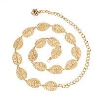Decoratie 15 bladeren goud jurk dunne gold taille ketting riemen dames 2017 luxe Bladeren metalen vrouwelijke riem voor vrouwen Strap HJ072