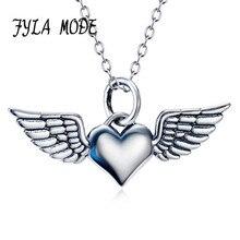 FYLA MODE 925 Sterling Silver Angel Wings Love Heart Necklaces & Pendants Silver Chain Necklace Women Fine Jewelry