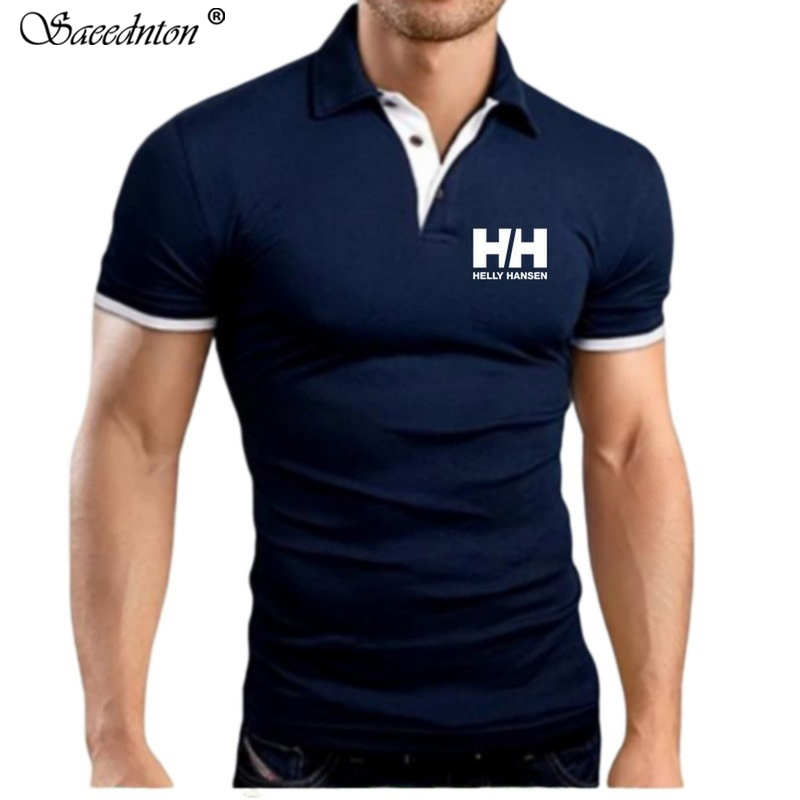 2019 Summer New Fashion Letter Print Men Short Sleeve Cotton   Polo   Shirt Slim Fit Tops Tees Casual Classic Male   Polo   Shirts S-5XL