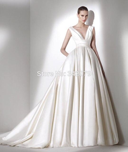 Ph15605 V Profundo Escote drapeado sash Princesa vestido de boda de ...