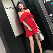 2019 Summer Ruffles A-line Dress Women Red Short Butterfly Sleeve Halter Mini Casual Beach Elegant Club Ladies Dresses