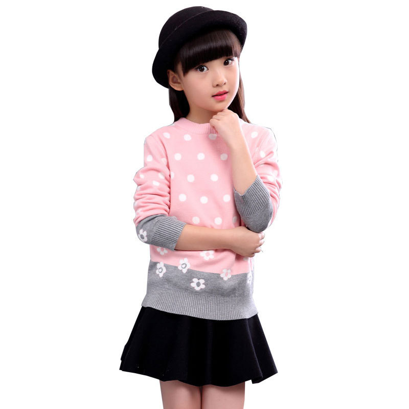 2018 Winter Autumn Girls sweater dress Kids tiny cottons Knitted Sweaters girls Cherry Dot cute cardigan tops clothes 4-14 Years 2018 autumn and winter new girls sweaters children clothes 4 14 years girls sweater b8001