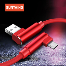 Suntaiho Micro USB Cable 90 Degree for Xiaomi redmi 4X charging cable for Samsung s7edge s6 for huawei for Mei zu USB Cables