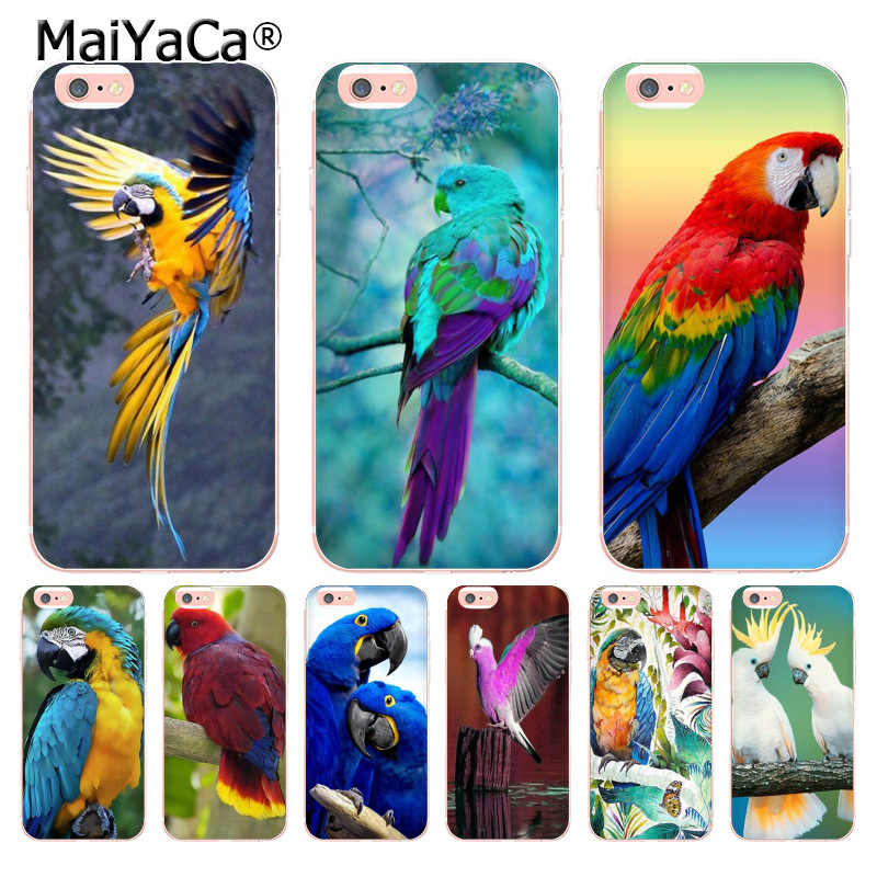 MaiYaCa Colorful Animal Bird Parrot cockatoos Coque Shell Phone Case for Apple iPhone 8 7 6 6S Plus X 5 5S SE 5C XS XR XSMAX