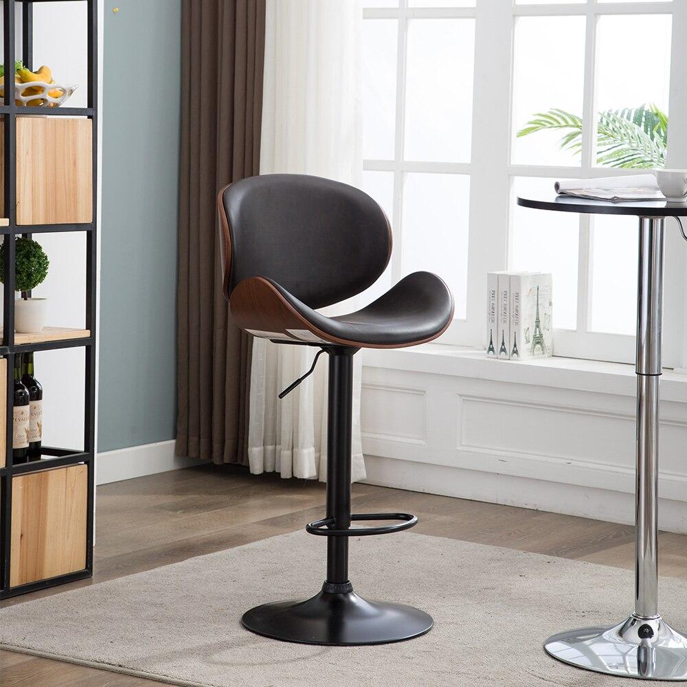 2 pièces noyer Bentwood hauteur réglable tabouret de Bar chaise capitonnée noir vinyle siège Bar meubles moderne en cuir chaise de Bar tabouret