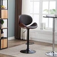 2pcs Walnut Bentwood Adjustable Height Barstool Chair Tufted Black Vinyl Seat Bar Furniture Modern Leather Bar Chair Stool
