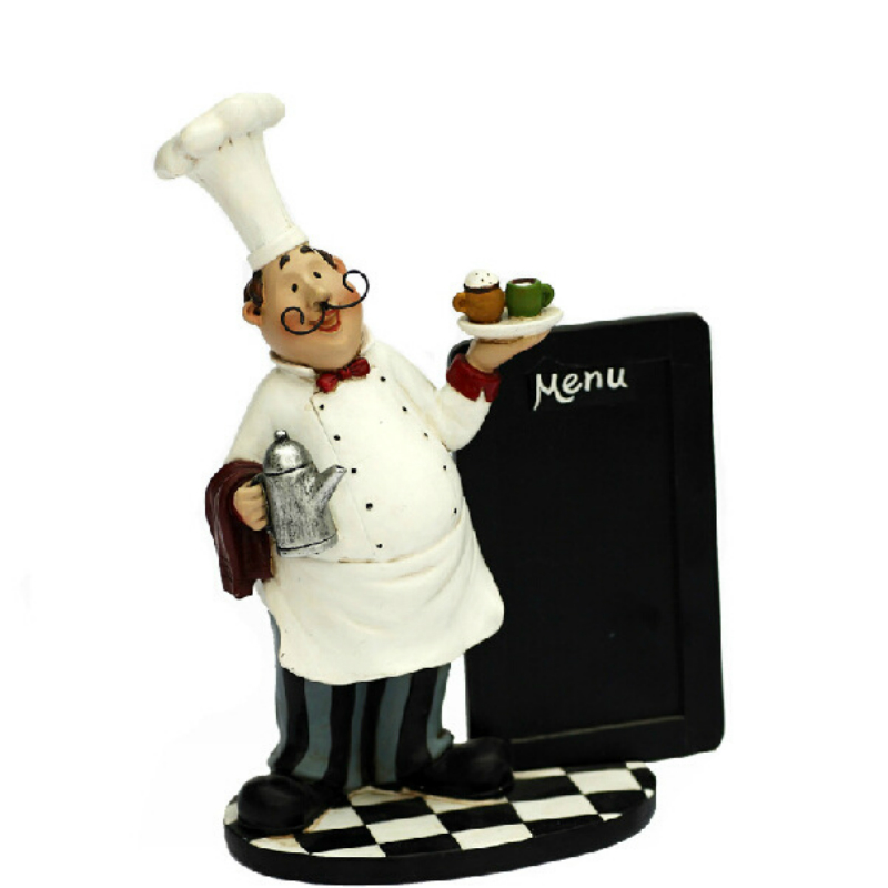 Funny Mustache Chef Resin Sculpture Ornaments Comes with A Small Blackboard Bar Restaurant Culinary Skills Theme