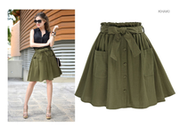 2018 Women S Skirts Vintage High Waist Pocket Solid Bow Belt Midi Skirt New Arrival Summer Europe Army Green Girls