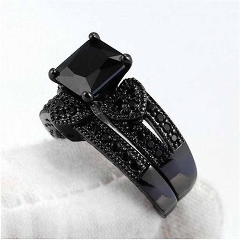 الأزياء ثلاثة القلب مقلد خواتم الماس مجموعات تشيكوسلوفاكيا مجوهرات الأبدية 10 K الذهب الأسود الخطبة خاتم الزواج للنساء حجم 5-10