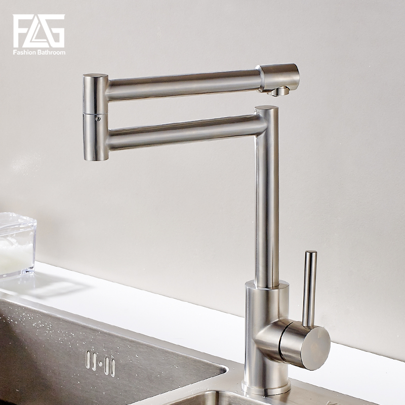 FLG 304 Stainless Steel Kitchen Sink Taps 360 Degree Rotatable Nickel Kitchen Faucet Folding Single Handle Mixer Tap Faucet