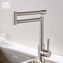 FLG 304 Stainless Steel Kitchen Sink Taps 360 Degree Rotatable Nickel Kitchen Faucet Folding Single Handle Mixer Tap Faucet цена