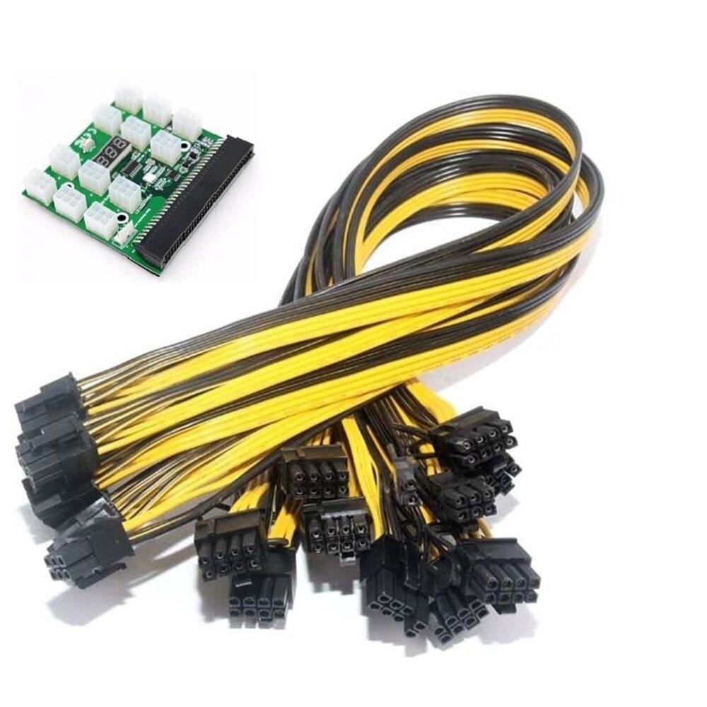 1Pc 6Pin Server Power Converter Board (Button Switch) + 12Pcs 50CM 6+2 Pin Power Cable GPU PCI-E Male to Male Cord
