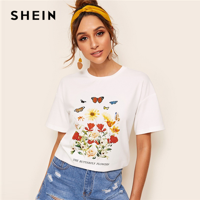 0d5b225854 SHEIN Drop Shoulder Floral Slogan Animal Tee Women Clothing 2019 Casual  White Short Sleeve Solid Tshirt Stretchy Summer Tops