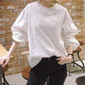 2016 Autumn New Korean White Blouse and Shirt Simple Leisure Wild Round Neck Lantern Sleeve Solid Color Tops Shirt Women