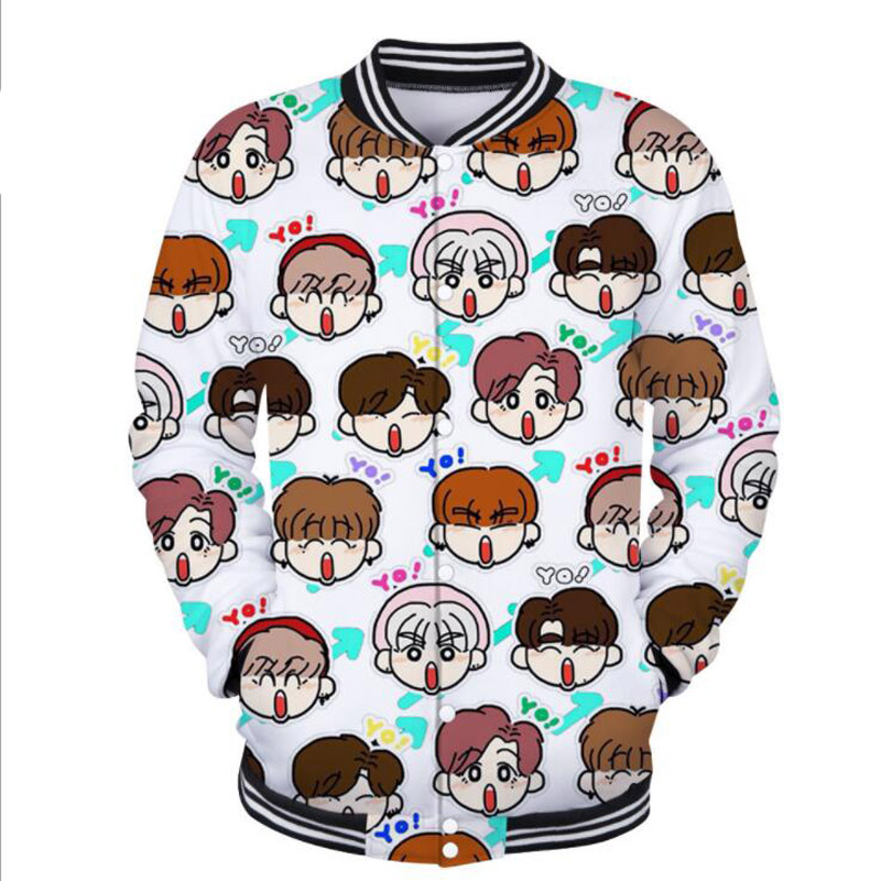 KPOP GOT7 3D Cartoon Print Baseball Uniform Jacket BAMBAM JACKSON YOUNGJAE Korean Streetwear Hip Hop Women Hoodie Sweatshirt 4XL