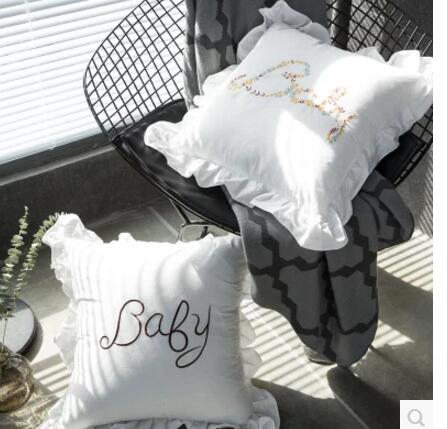 Cute Baby Letter Embroidery Decorative Throw Pillow Covers with Ruffles 100% Cotton White Decorative Pillow Case for Living Room