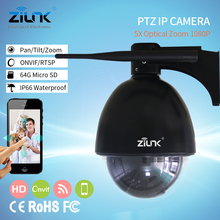 ZILNK Speed Dome Camera PTZ Mini IP Camera 960P HD 5X Zoom Auto Focus 2.7-13.5mm Outdoor Wireless Wifi IR Onvif SD Card Security