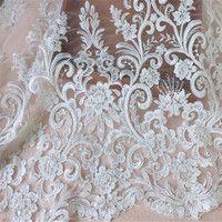 Gorgeous Ivory white Embroidered Lace Ivory Heavy Beaded alencon Lace Fabric for Wedding Bridal Gowns Garments 0.5M