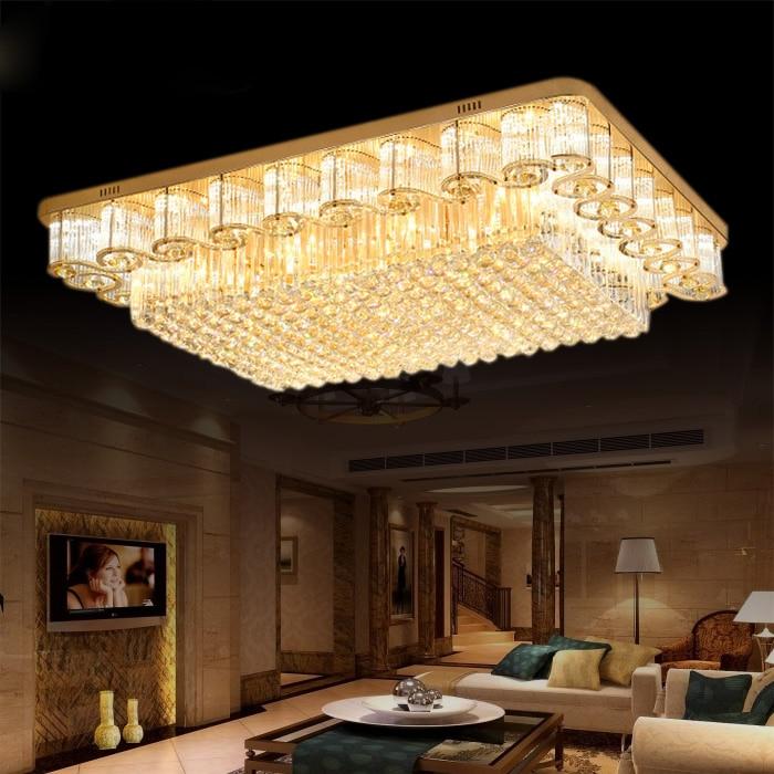 Round Crystal Lights Luxury Lobby European Living Room Light Rectangular Crystal Ceiling Lamps Lights Lighting fixture