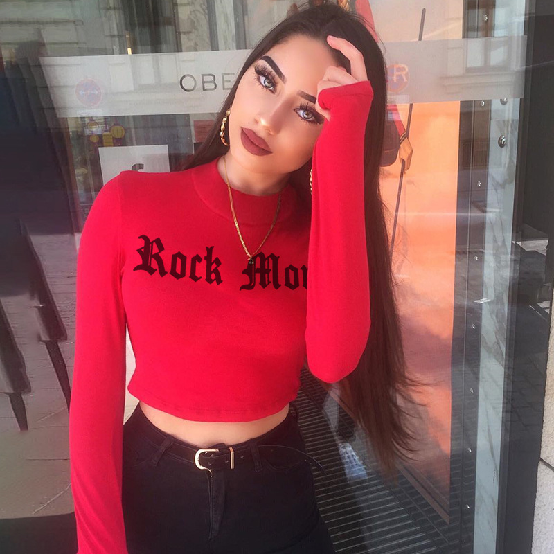 Hot Long Sleeve Crop Top Fashion Women's T-Shirts Letter Turtleneck Tops Cotton Slim Sexy Female T-Shirt Tee Femme Hot Sale