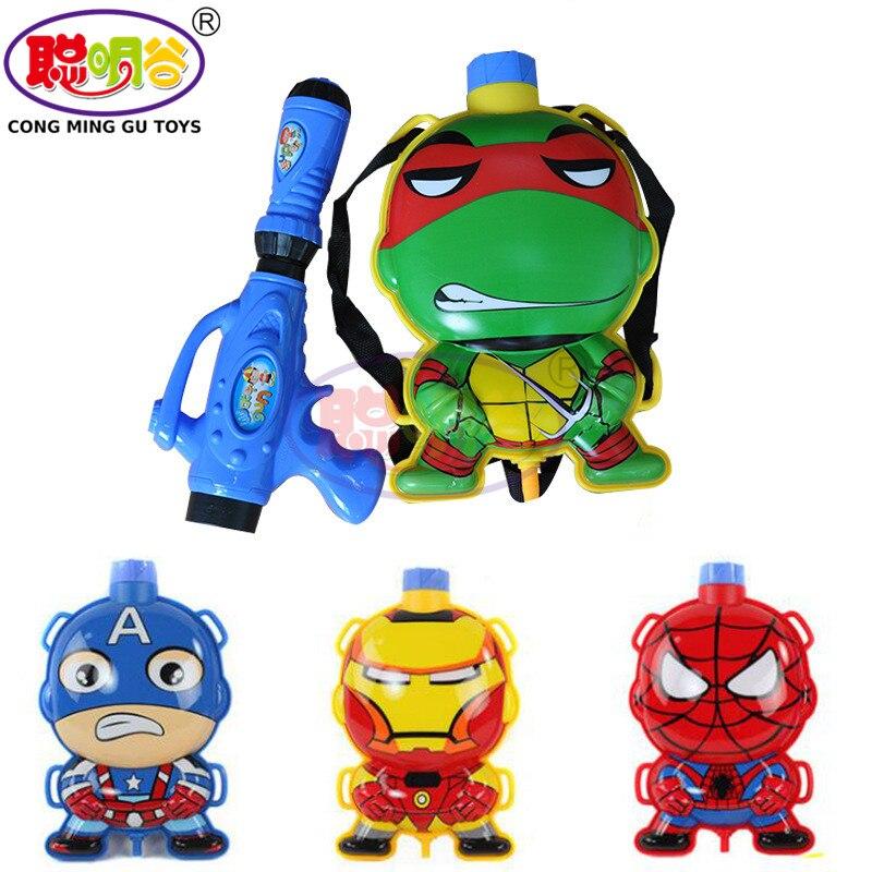 CongMingGu 2017 Children Summer Beach Swimming Spider Man Backpack Kids Backpack Water Gun Pull Cute Animal