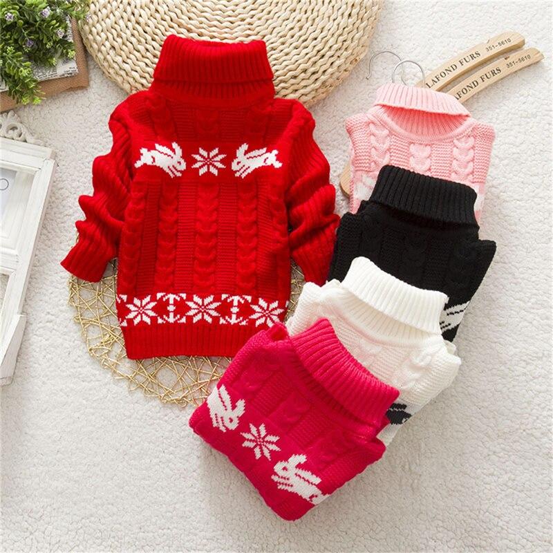 Cute Rabbit Flower Winter Baby Girls Boys Turtleneck font b Sweater b font Kid Children Knits