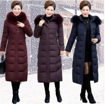 Winter down cotton girl slim fit long coat cotton large size fashion hooded fur collar jacket