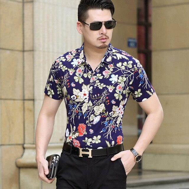 1763e89667 2016 Nueva Moda de Verano Para Hombre de Moda Floral Camisa de Estampado de  Flores de