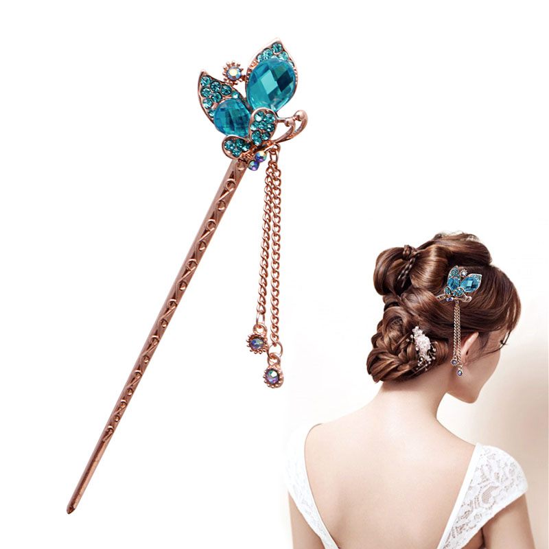 Women Elegant Charm Blue Crystal Bobby Pin Fashion Hairpin Rhinestone Hair Stick NEW SALE