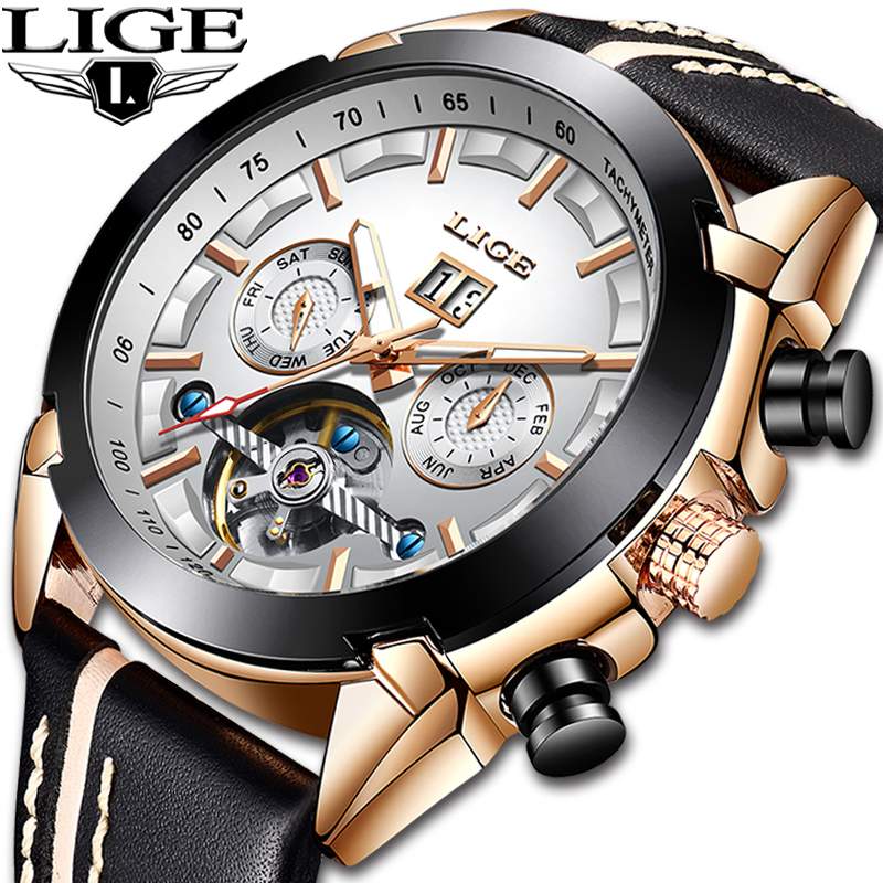 Relogio Masculino LIGE Top marques de luxe automatique mécanique montre mâle en cuir étanche sport montre hommes d'affaires montre-bracelet