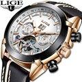Relogio masculino LIGE Top Marcas de Luxo Relógio Mecânico Automático Masculino Relógio À Prova D' Água Esportes relógio de Pulso Dos Homens de Negócios de Couro