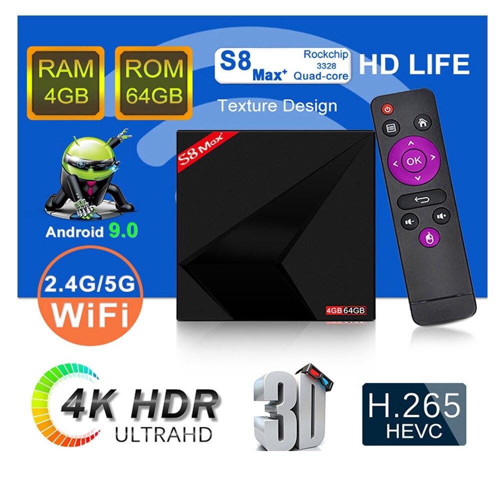 S8 MAX+ plus 4GB RAM 64GB ROM 4K Smart Android 9.0 TV BOX RK3328 Penta Core 2.4G/5G Dual Wifi HD stb Media Player set top box