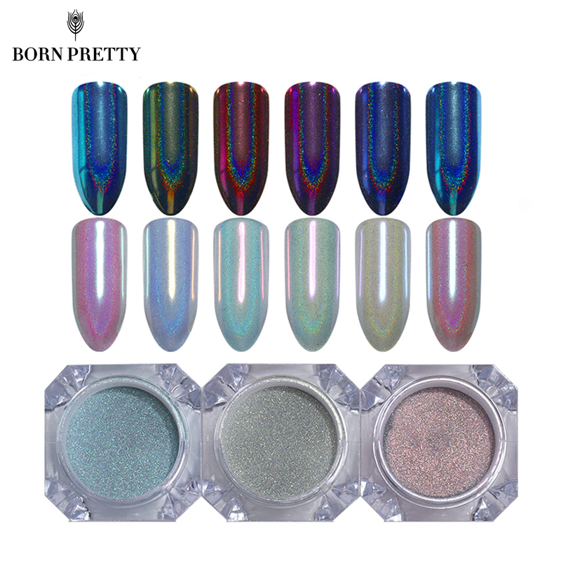 0.5g Holographic Chameleon Mermaid Nail Glitter Powder Unicorn Mirror Chrome Pigment Dus ...