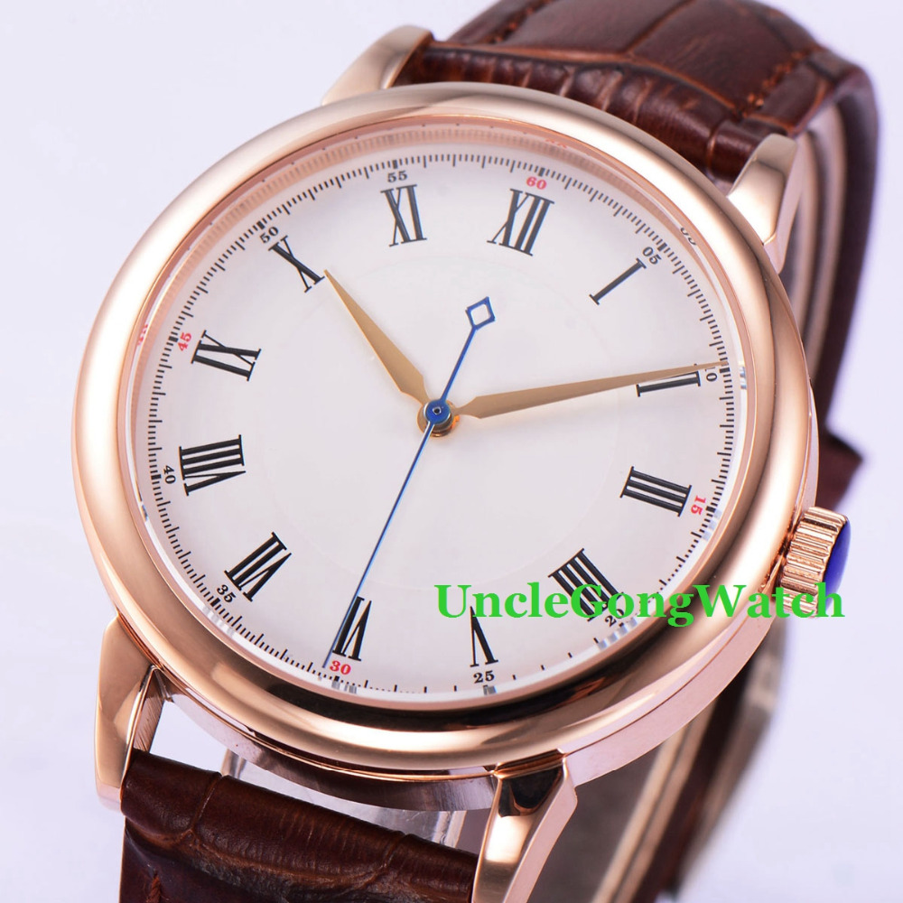 40mm White Dial Sapphire Crystal Roman Marks Brown Leather Strap Rosegold Polished Case Mens Miyota Automatic Watch