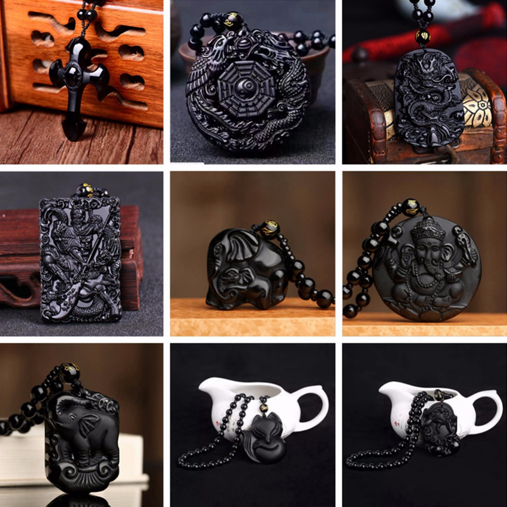 Natural Obsidian Necklace Pendant High Quality Unique Natural Black Obsidian Carved Buddha Lucky Amulet For Women Men Jewelry