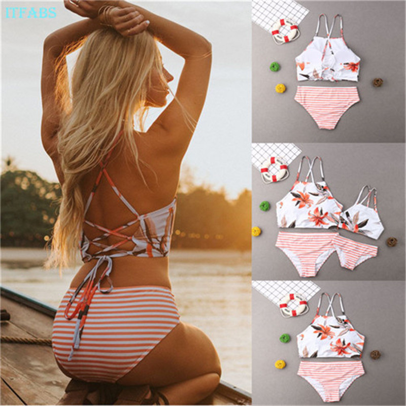 New Summer Parent-child Swimming Costume Mom And Daughter Swimsuit Sexy Bikini Mother Daughter Matching Clothes O-neck 2Pcs