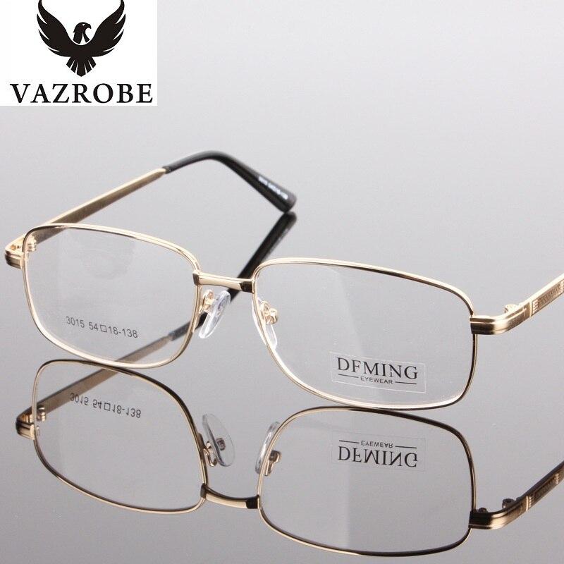 vazrobe brand gold glasses frame for men prescription spectacles customized myopia lenses eyeglasses frames male thick