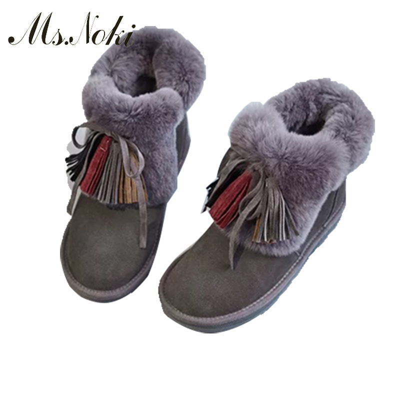 ms. noki Fashion fur warm snow boots fringe bowie 2017 heels winter boots new arrival women good quality ankle boots women shoes ms noki fur new fashion style black ankle boots flats pointed toe back slip on boots pu flock woman shoes with warm fur outside