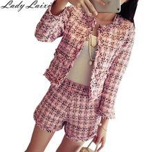 2019 Autumn Winter Tweed 2 Piece Set Women Slim Plaid Short Set Fashion Fringed Trim Jacke