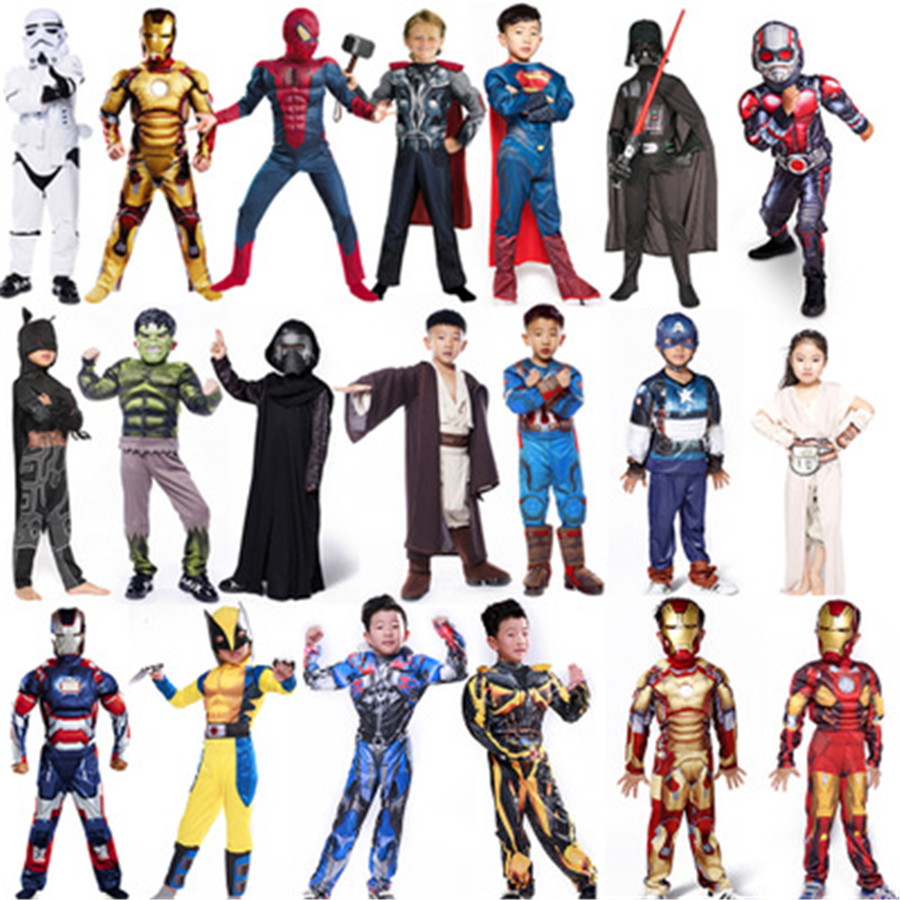 Hot Avenger Cosplay Performance Costumes Captain America Steel Spiderman Children Anime Halloween Christmas Wear