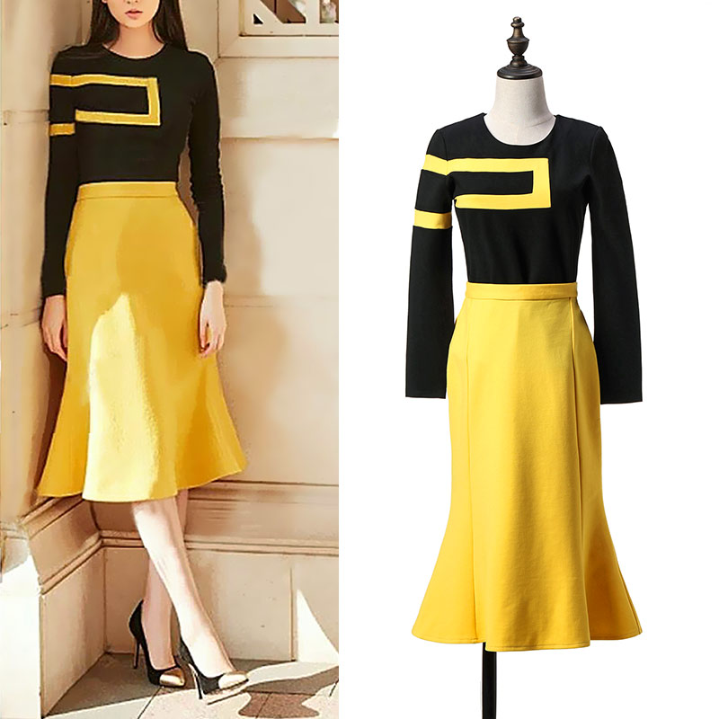 Spring New Fashion Women Shirt Beauties Long Fishtail Yellow Skirt Suit Black Jacket Brand Design Style Lady Party Clothes Set