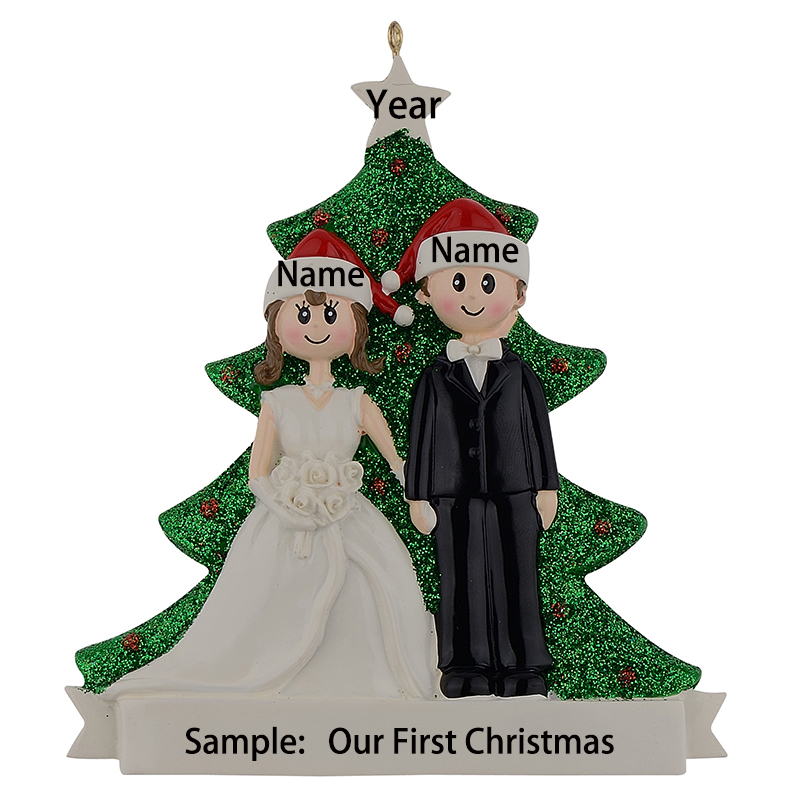 Couple Glitter Resin Christmas Engagement Tree Ornaments Wedding Souvenirs Personalized Gifts Free Name Drop For Wedding Decor in Party DIY Decorations from Home Garden